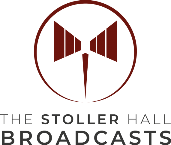 The Stoller Hall Broadcasts Logo Red + 90% Grey